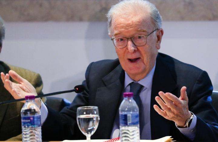 O antigo Presidente da República, Jorge Sampaio, intervém na abertura da conferência sobre os 40 anos de relações diplomáticas entre Portugal e China, no Museu do Oriente, em Lisboa, 08 de fevereiro de 2019. TIAGO PETINGA/LUSA