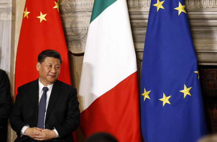 epa07458396 Chinese President Xi Jinping during the meeting at  Villa Madama in Rome, Italy, 23 March 2019. President Xi Jinping is in Italy to sign a memorandum of understanding to make Italy the first Group of Seven leading democracies to join China's ambitious Belt and Road infrastructure project.  EPA/Riccardo Antimiani
