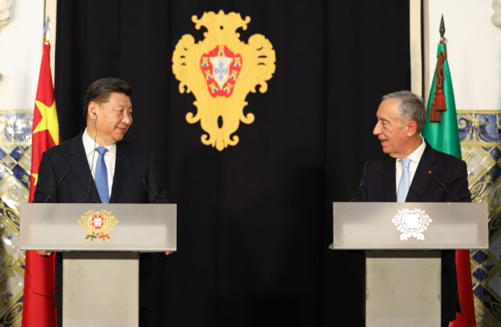 China's President Xi Jinping (L) and Portugal's President Marcelo Rebelo de Sousa (R) make a statement to the press after a meeting at Belem Palace in Lisbon, Portugal, 4 December 2018. Xi Jinping is on a two-day official visit to Portugal. JOAO RELVAS/LUSA