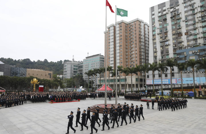 Chinese and Macao´s flag during the raise the flag cerimonies during the Macao Special Administrative Region of the People's Republic of China 20th anniversary celebrations at Lotus Flower Square in Macao, Chine, 20 December 2019. Macao was governed by Portugal until 1999 when it was transferred to China. As a special administrative region, Macao maintains separate governing and economic systems from that of mainland China JOÃO RELVAS/LUSA