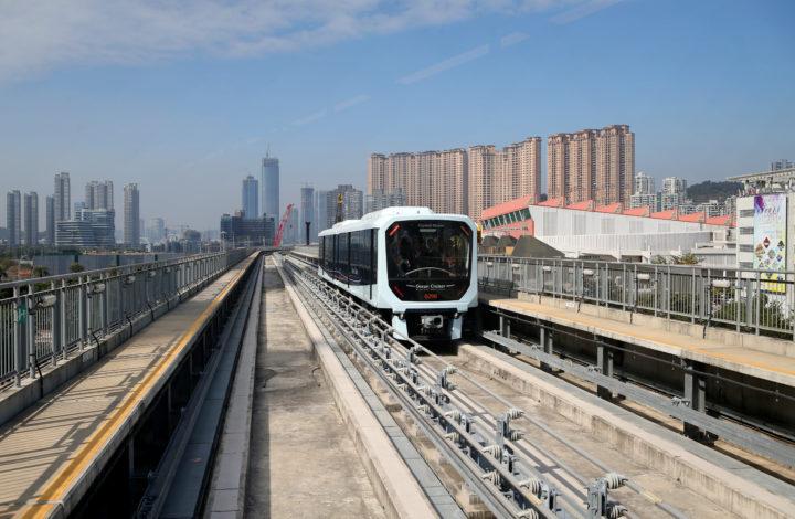 Uma carruagem do Metro Ligeiro de Macau, que foi hoje inaugurado em Macau, China, 10 de dezembro de 2019. GONÇALO LOBO PINHEIRO/LUSA